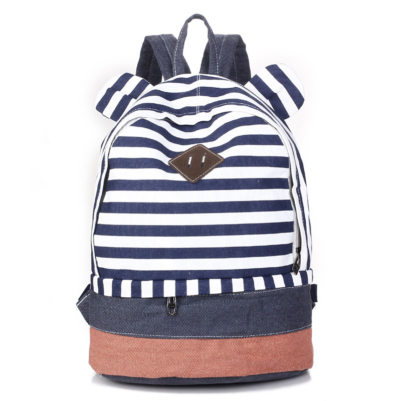 126fd93d0c3e Cute Striped canvas printing backpack school bag for teenagers girls college  mochilas women casual back pack